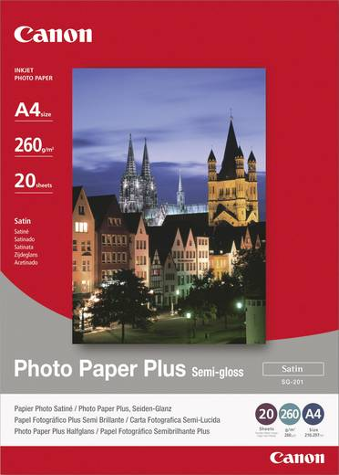 Canon Photo Paper Plus semi-gloss SG-201, 1686B021, DIN A4, 260 g/m², Zijdeglans, 20 vellen