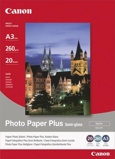 Canon Photo Paper Plus semi-gloss SG-201, 1686B026, DIN A3, 260 g/m², Zijdeglans, 20 vellen