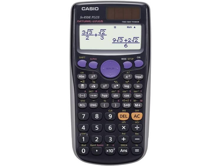 Schoolrekenmachine Casio fx 85DE PLUS Zwart Aantal displayposities 15 werkt op