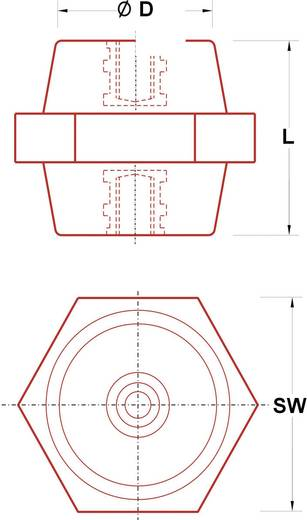 Isolatiesteunen (l) 50 mm M10 Polyester glasgevuld ISS-1050 1 stuks