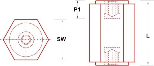 Isolatiesteunen (l) 55 mm M6 Polyester glasgevuld IS20-HH655 1 stuks