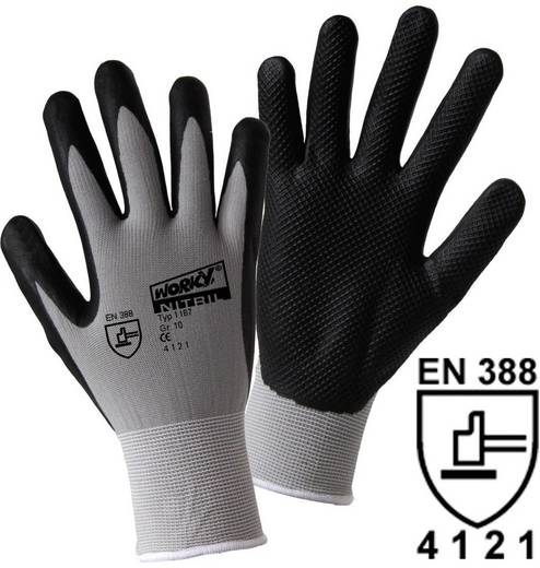 worky 1167 NITRIL GRID fijne gebreide handschoen 100% polyamide met geschuimde Nitrilcoating met roosterstructuur Maat (