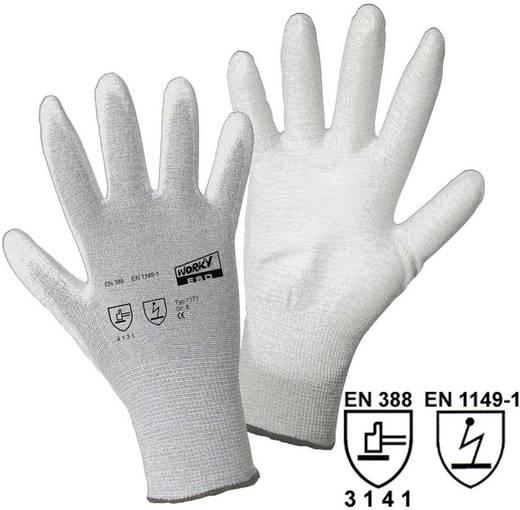 worky 1171 ESD fijn gebreide handschoenen Nylon / koolstofvezel met PU-coating Maat (handschoen): 8, M