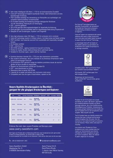 Avery-Zweckform Inkjet Paper Bright White Inkjet printpapier DIN A4 100 g/m² 500 vellen Helderwit