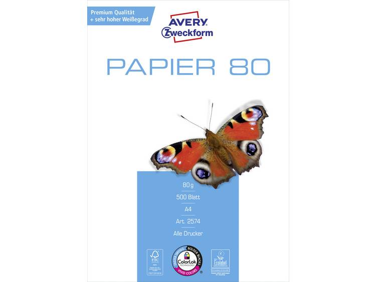 Avery-Zweckform Paper Inkjet + Laser Printpapier DIN A4 80 g-m² 500 vellen Wit