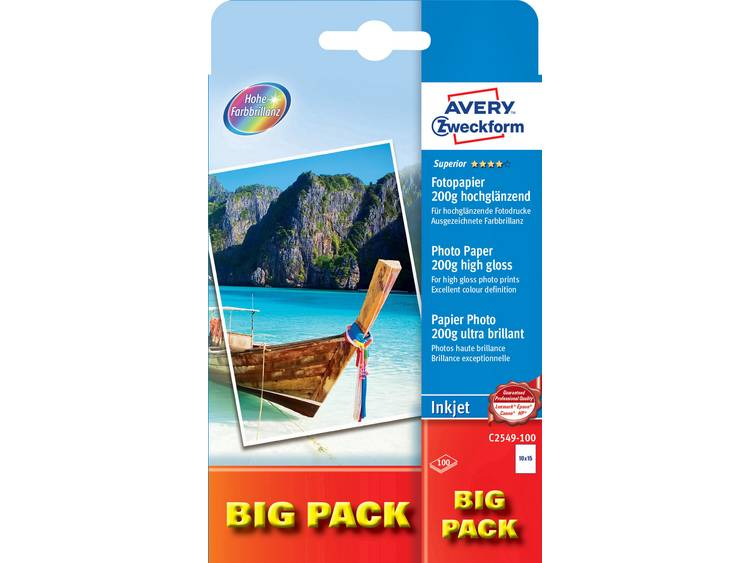 Avery Zweckform Superior Photo Paper Inkjet BIG PACK C2549 100 Fotopapier 10 x 1