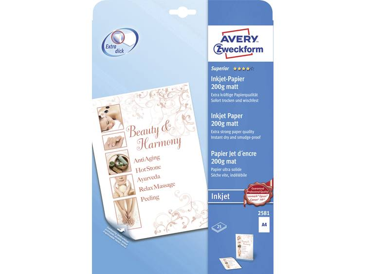 Avery-Zweckform Superior Inkjet Paper Inkjet printpapier DIN A4 200 g/m² 25 vellen Wit