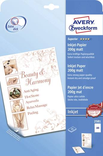 Avery-Zweckform 2581 Inkjet printpapier DIN A4 200 g/m² 25 vellen Wit