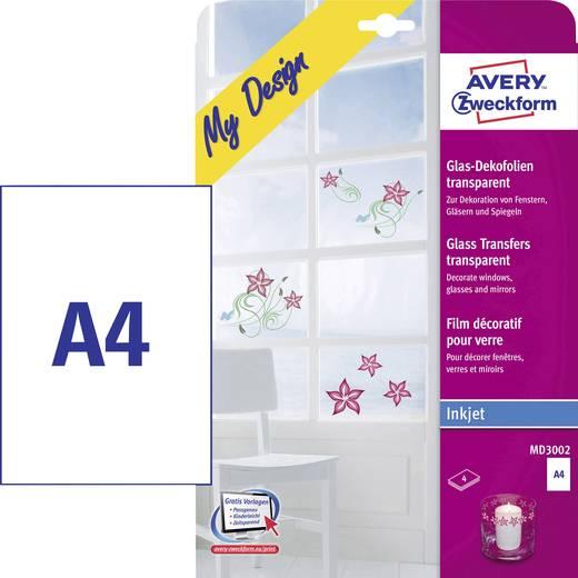 Avery-Zweckform MD3002 MD3002 Inkjetfolie (zelfklevend) DIN A4 Transparant Weer verwijderbaar 4 stuks