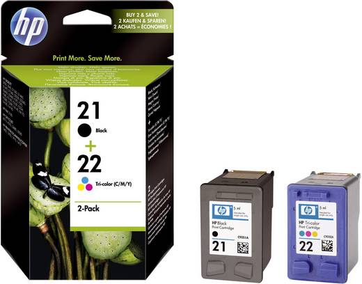 HP Cartridge multipack 21, 22 Zwart, Cyaan, Magenta, Geel