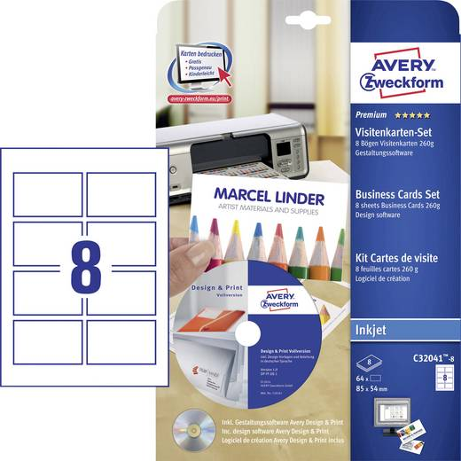 Avery-Zweckform Premium Bedrukbare visitekaarten, gladde kant + designsoftware DIN A4 260 g/m² 64 stuks Wit