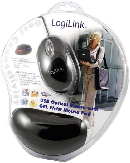 LogiLink Mini Maus mit Gel Mauspad USB muis Optisch Verlicht Zwart