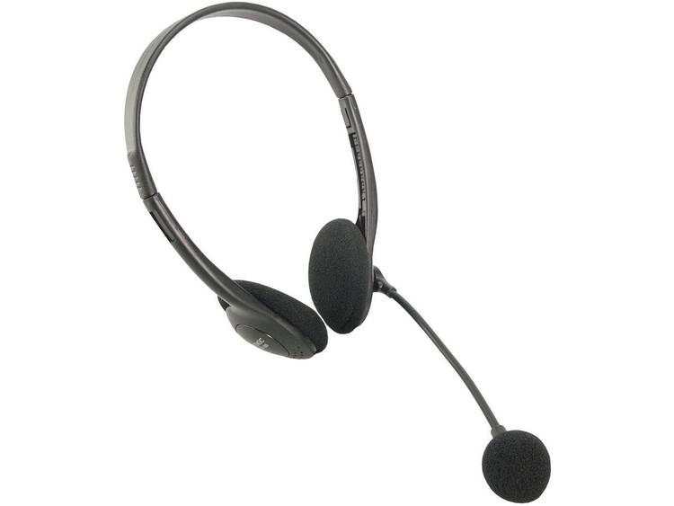 LogiLink stereo-headset, hoofdtelefoon met microfoon Deluxe