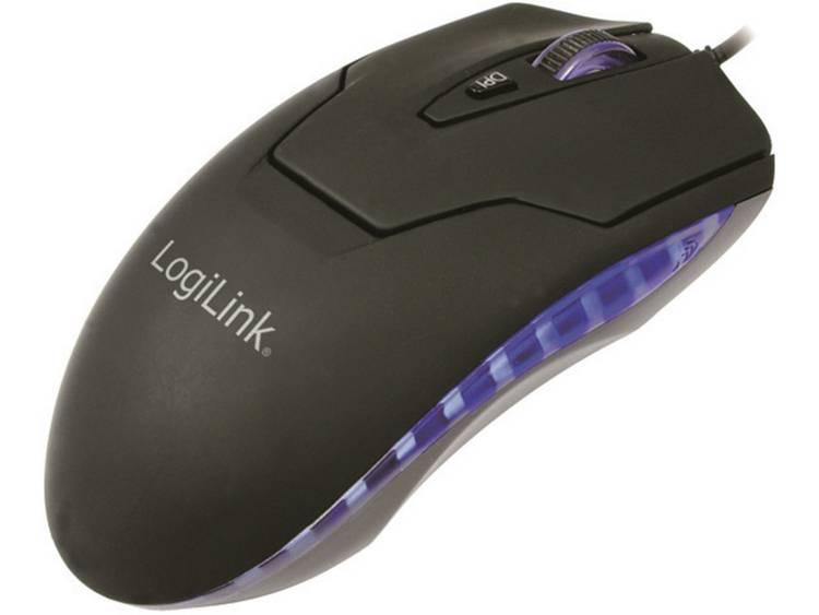 USB muis Laser LogiLink Lasermuis USB met LED Verlicht Zwart