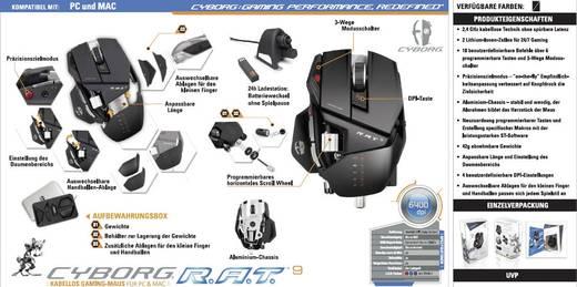 MadCatz Cyborg R.A.T.9 Draadloze game-muis Laser Zwart