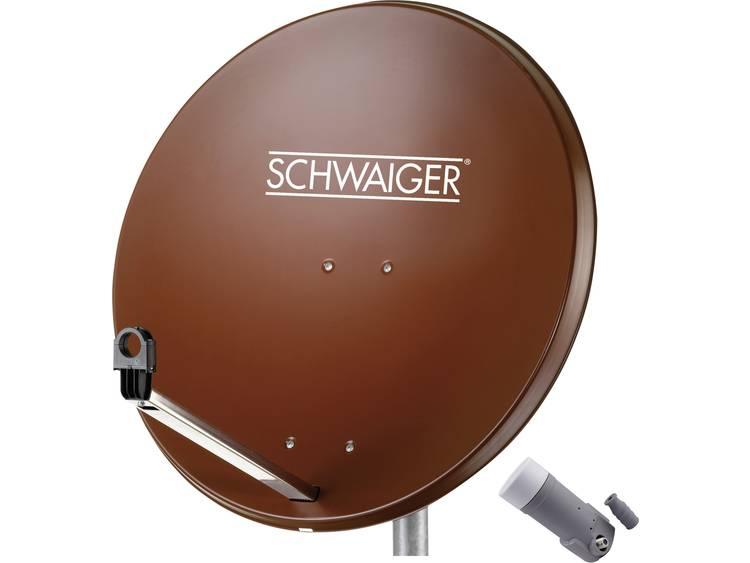 Schwaiger satellietinstallatie voor 1 satelliet - satellietschotel 80 cm, steenrood, LNB - 1 aansluiting