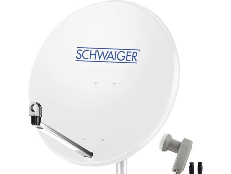 Schwaiger satellietinstallatie voor 1 satelliet satellietschotel 80 cm, lichtgrijs, LNB 2 aansluitin