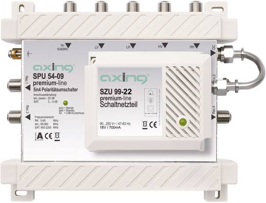 Axing SPU 54-09 Satelliet multiswitch Ingangen (satelliet): 5 (4 satelliet / 1 terrestrisch) Aantal gebruikers: 4 Standb