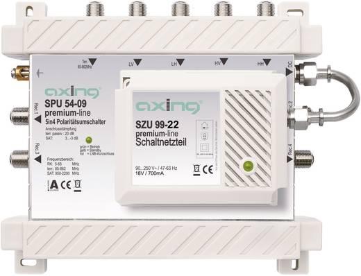 Axing SPU 54-09 Satelliet multiswitch Ingangen (satelliet): 5 (4 satelliet / 1 terrestrisch) Aantal gebruikers: 4 Standby-functie, geschikt voor Quad LNB