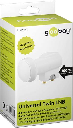 Goobay Universele Twin-LNB Twin LNB Aantal gebruikers: 2 Feed-opname: 40 mm vergulden aansluiting