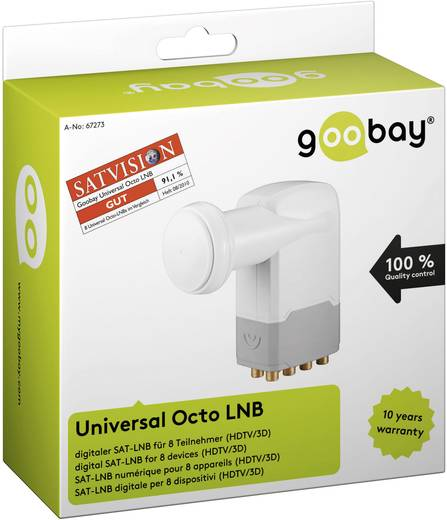 Goobay Universele octo-LNB Octo-LNB Aantal gebruikers: 8 Feed-opname: 40 mm met switch, vergulden aansluiting