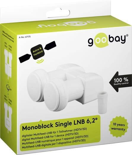 GOOBAY Monoblock single-LNB 6,2°, Aantal gebruikers=1 - Voor de ontvangst van 2 SAT-posities met 6,2° ve