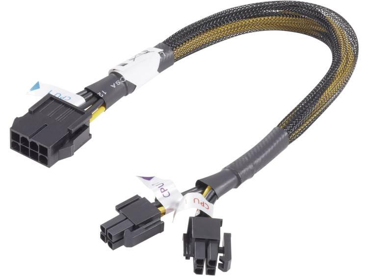 Verlengkabel Akasa Stroom [1x PCI-E stekker 8-polig - 2x PCI-E stekker 4-polig] 0.30 m Geel-zwart