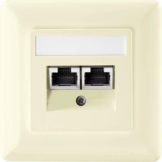 Netwerkdoos Inbouw Inzet met centraalstuk en frame CAT 5e 2 poorten Setec 604680 Zuiver wit