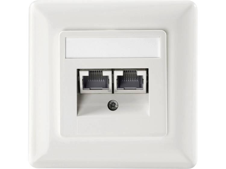 Netwerkdoos Inbouw Inzet met centraalstuk en frame CAT 6 Setec 649290 Zuiver wit
