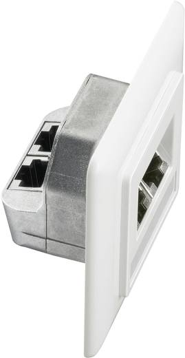 Netwerkdoos Inbouw Inzet met centraalstuk en frame CAT 5e 2 poorten Setec 649285 Zuiver wit