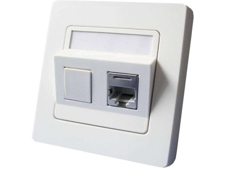 Netwerkdoos Inbouw Inzet met centraalstuk en frame CAT 6 2 poorten Setec 604659 Zuiver wit
