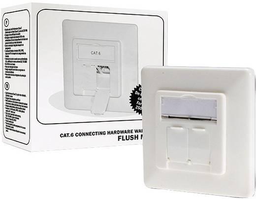 Netwerkdoos Inbouw Inzet met centraalstuk en frame CAT 6 2 poorten Digitus Professional DN-9005-KL-N Zuiver wit