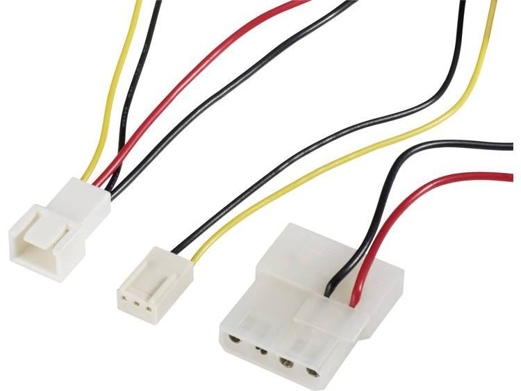 Kabel PC-ventilator [1x PC-ventilator stekker 3-polig - 1x IDE-stroombus 4-polig, PC-ventilator bus 3-polig] 0.30 m Zwart, Rood, Geel Akasa