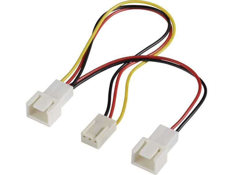 Y-kabel PC-ventilator [2x PC-ventilator stekker 3-polig - 1x PC-ventilator bus 3-polig] 0.15 m Zwart, Rood, Geel Akasa