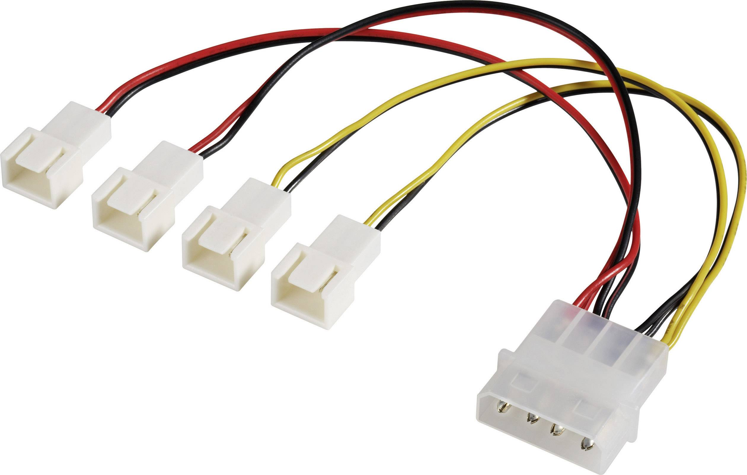 Y-kabel PC-ventilator [4x PC-ventilator stekker 3-polig - 1x IDE ...