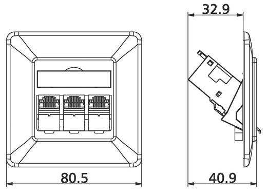 Netwerkdoos Inbouw Inzet met centraalstuk en frame CAT 6A 3 poorten Metz Connect 1309131002-E Zuiver wit