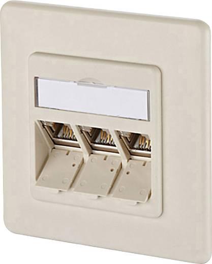 Netwerkdoos Inbouw Inzet met centraalstuk en frame CAT 6A 3 poorten Metz Connect 1309131001-E Parel-wit