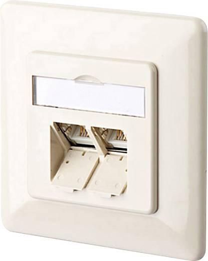Netwerkdoos Inbouw Inzet met centraalstuk en frame CAT 6 2 poorten Metz Connect 1307381001-I Parel-wit