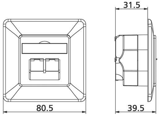 Netwerkdoos Inbouw Inzet met centraalstuk en frame CAT 6 2 poorten Metz Connect 1307381002-I Zuiver wit