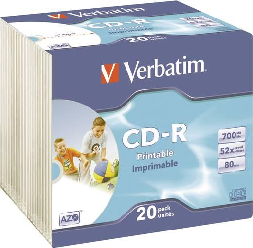 Verbatim 43424 CD-R 80 disc 700 MB 20 stuks Slimcase Bedrukbaar