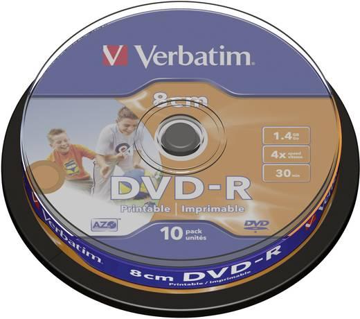 8 cm mini DVD-R disc 1.4 GB Verbatim 43573 10 stuks Spindel Bedrukbaar