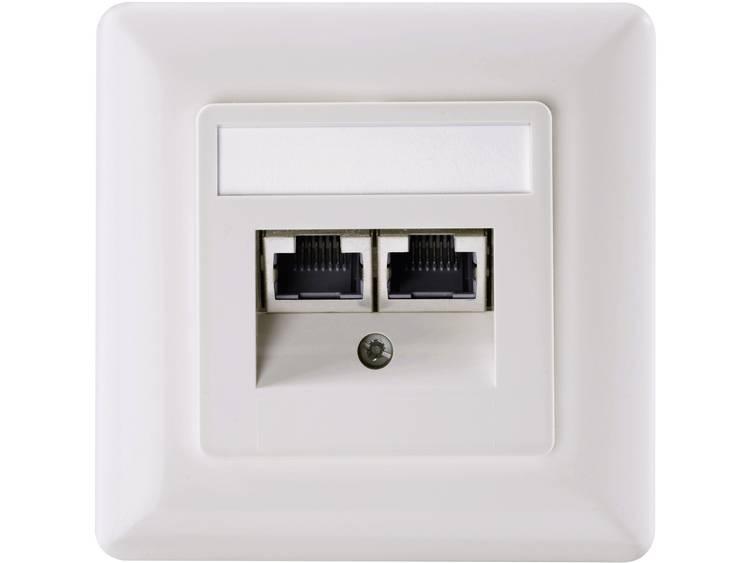 Netwerkdoos Inbouw Inzet met centraalstuk en frame CAT 5e 2 poorten Setec 501286 Parel-wit