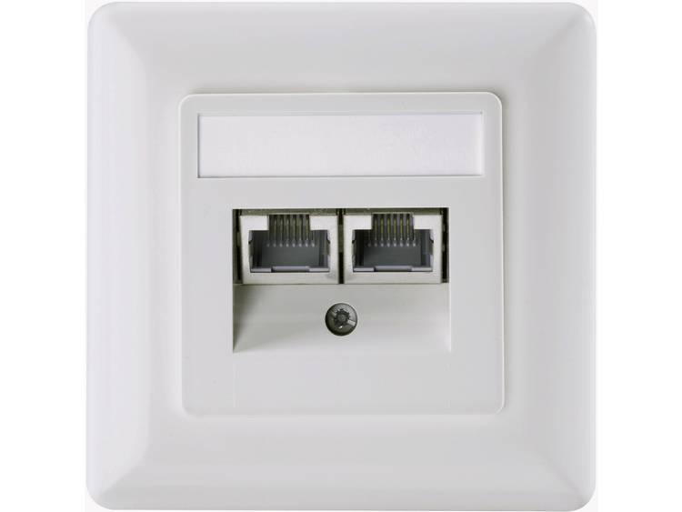 Netwerkdoos Inbouw Inzet met centraalstuk en frame CAT 6 Setec 604697 Parel-wit