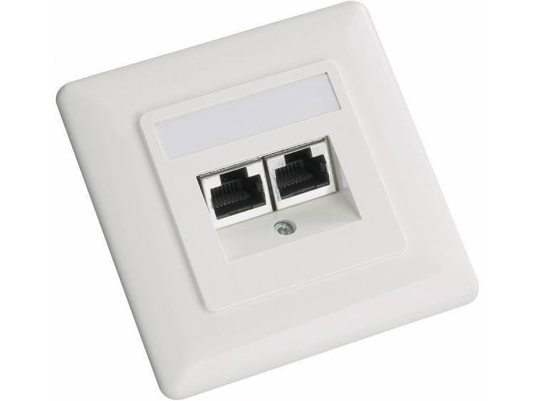 Netwerkdoos Inbouw Inzet met centraalstuk en frame CAT 5e 2 poorten Setec 604666 Parel-wit