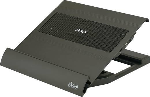 Laptop cooling-pad Akasa AK-NBC-09 In hoogte verstelbaar, Regelbare ventilator, USB-hub functie