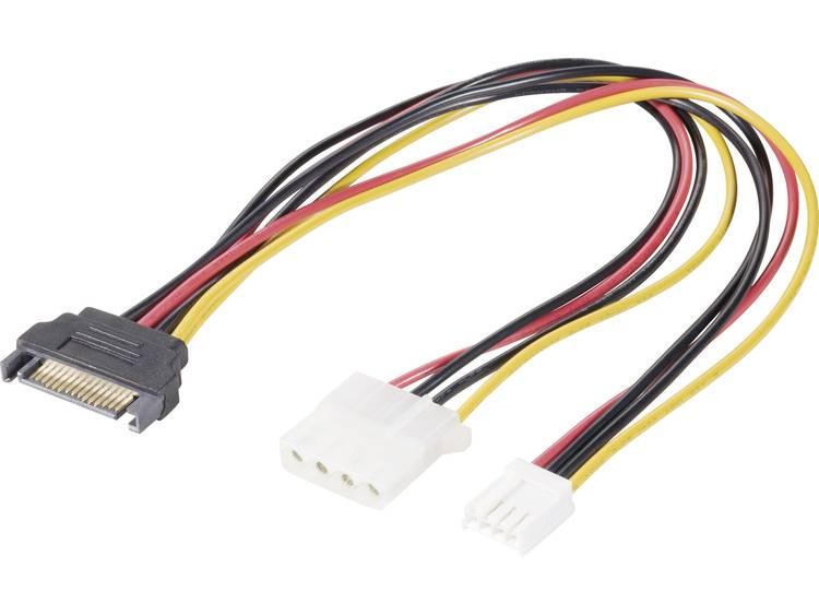 Stroom Y-adapter [1x SATA-stroomstekker 1x IDE-stroombus 4-polig, Floppy-stroombus] 0.20 m Zwart, Ro