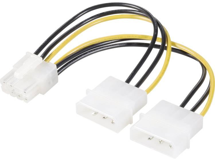 Y-kabel Renkforce Stroom [2x IDE-stroomstekker 4-polig - 1x PCI-E stekker 8-polig] 0.15 m Geel-zwart