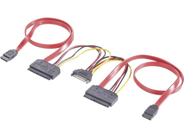 CE Harde schijf Y-kabel [2x SATA-bus 7-polig, SATA-stroomstekker 2x SATA-combi-bus 15+7-polig] 0.50