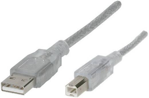USB-kabel 2.0 voor USB-relaiskaart, kabellengte 1,8 m, zilver (transparant), aansluiting A: USB 2.0 stekker A aansl. B,