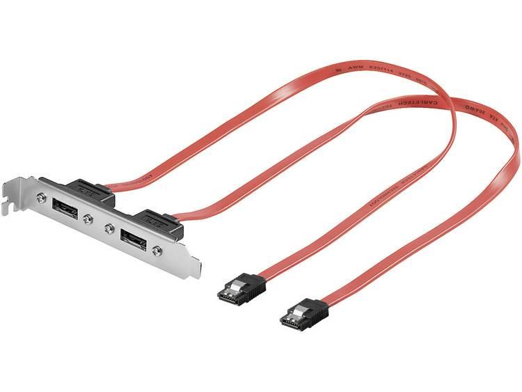 Goobay Harde schijf Adapter [2x eSATA-bus 7-polig 2x SATA-stekker 7-polig] 0.50 m Rood